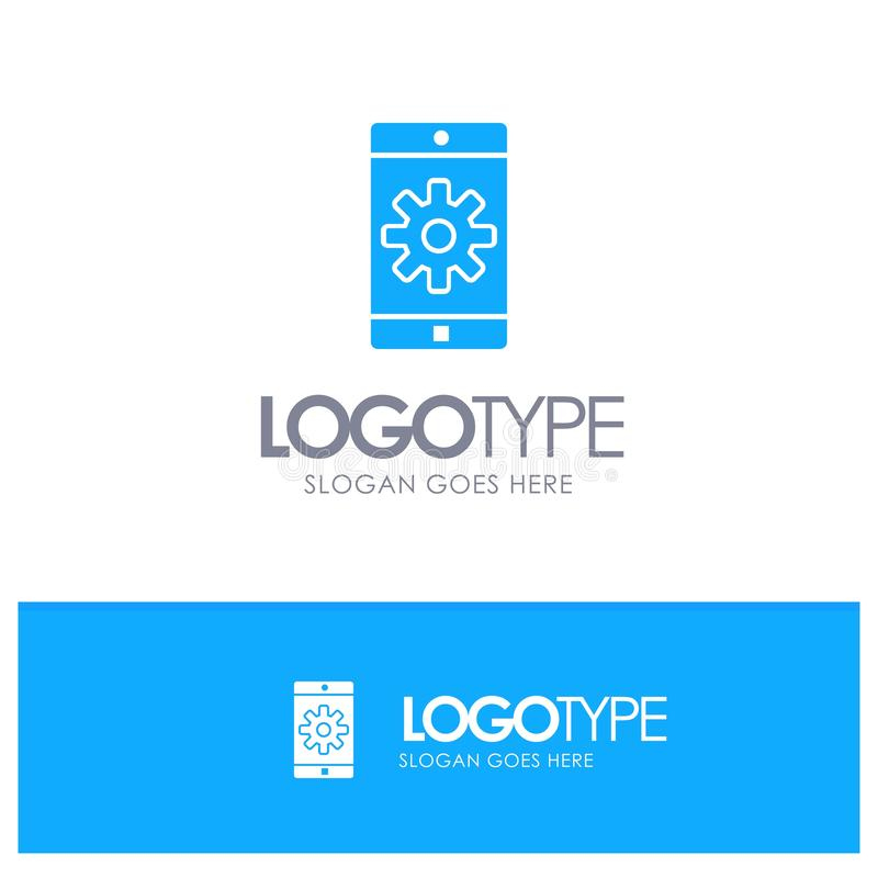 Zastosowanie, wisząca ozdoba, Mobilny zastosowanie dla tagline, Ustawia Błękitnego Stałego logo z miejscem ilustracja wektor