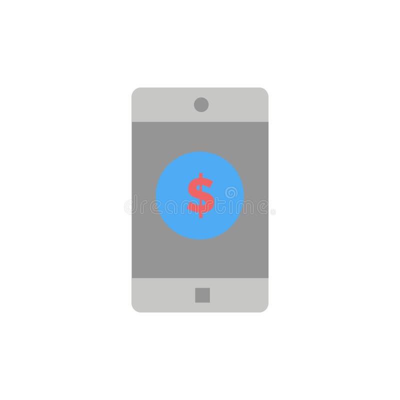 Zastosowanie, wisząca ozdoba, Mobilny zastosowanie, Dolarowa Płaska kolor ikona Wektorowy ikona sztandaru szablon ilustracji