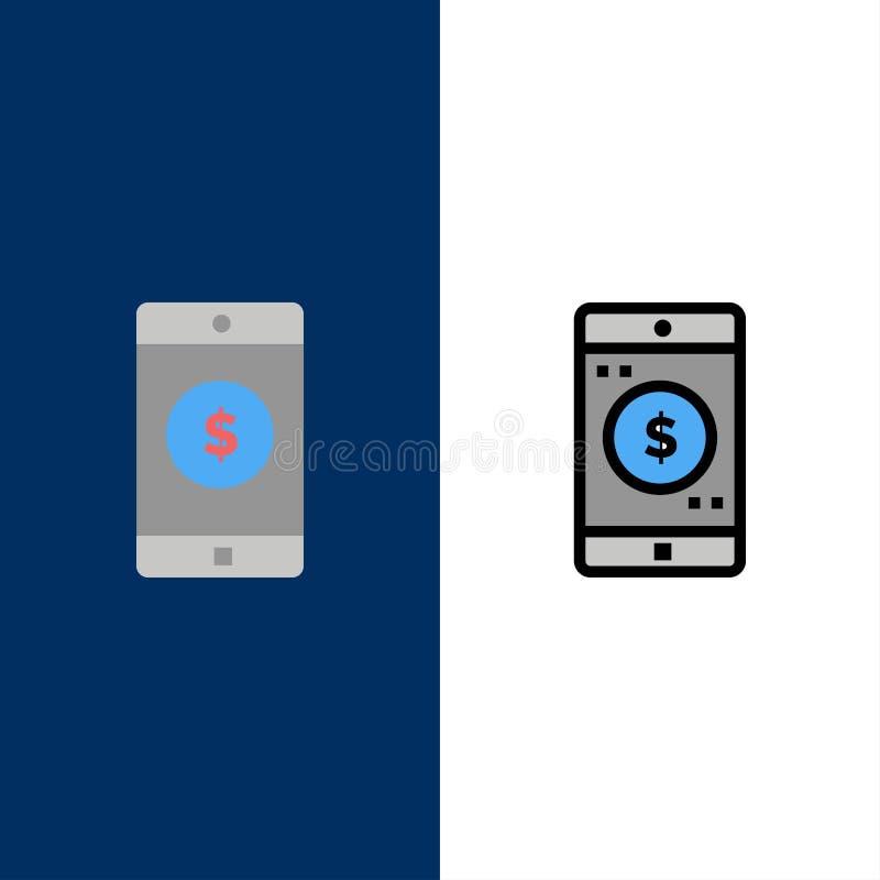 Zastosowanie, wisząca ozdoba, Mobilny zastosowanie, Dolarowe ikony Mieszkanie i linia Wypełniający ikony Ustalony Wektorowy Błęki royalty ilustracja