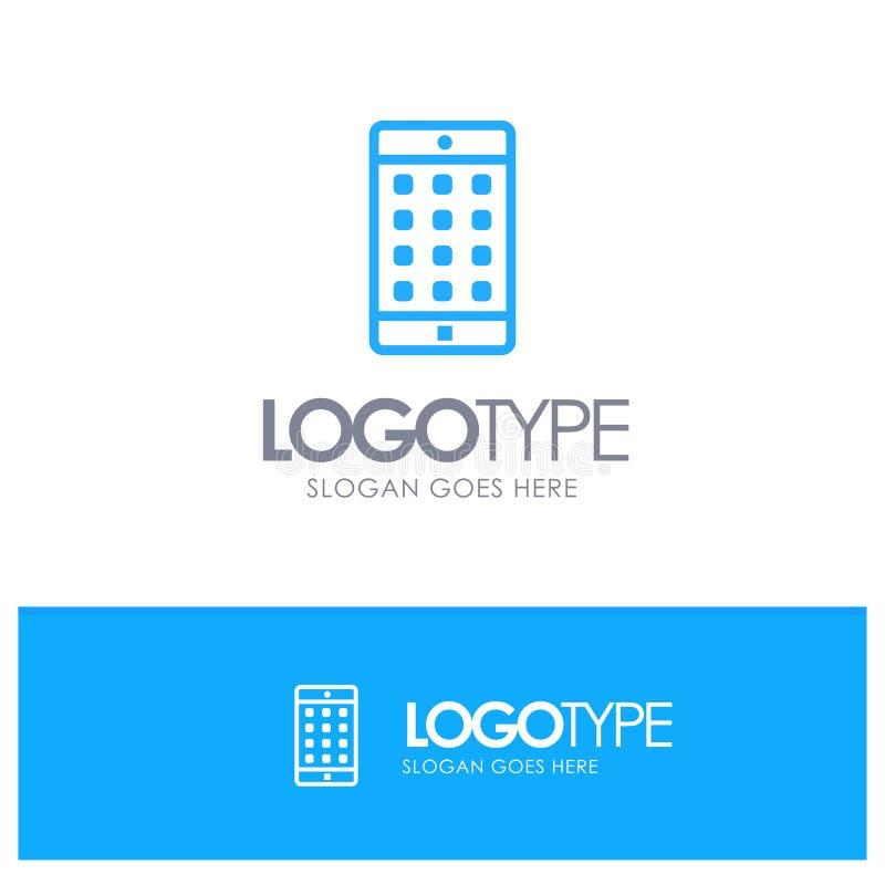 Zastosowanie, wisząca ozdoba, Mobilny zastosowanie, hasło konturu logo Błękitny miejsce dla Tagline royalty ilustracja