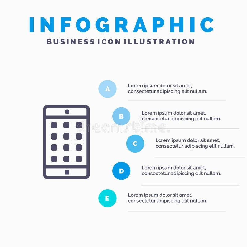 Zastosowanie, wisząca ozdoba, Mobilny zastosowanie, hasło Kreskowa ikona z 5 kroków prezentacji infographics tłem ilustracji