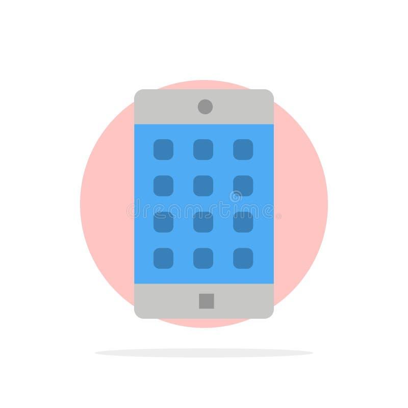 Zastosowanie, wisząca ozdoba, Mobilny zastosowanie, hasło okręgu Abstrakcjonistycznego tła koloru Płaska ikona ilustracji