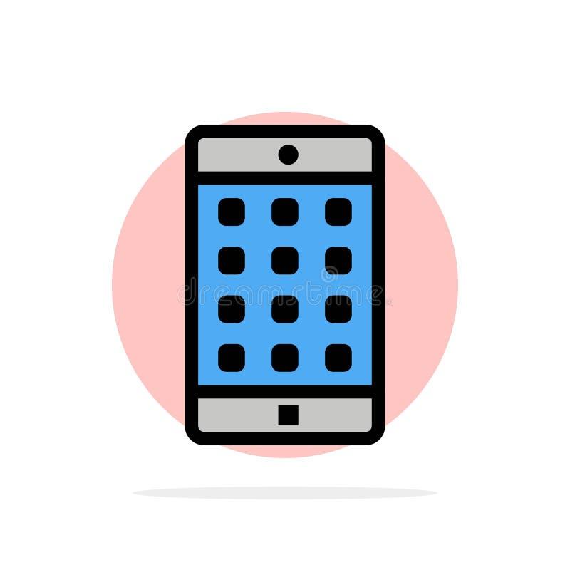 Zastosowanie, wisząca ozdoba, Mobilny zastosowanie, hasło okręgu Abstrakcjonistycznego tła koloru Płaska ikona royalty ilustracja