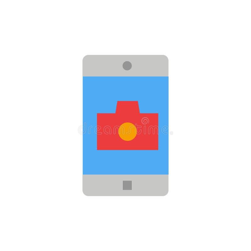 Zastosowanie, wisząca ozdoba, Mobilny zastosowanie, kamera koloru Płaska ikona Wektorowy ikona sztandaru szablon ilustracja wektor