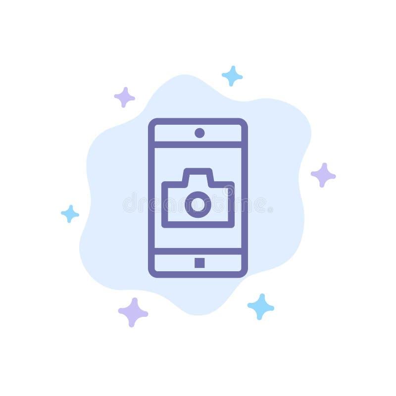 Zastosowanie, wisząca ozdoba, Mobilny zastosowanie, kamery Błękitna ikona na abstrakt chmury tle ilustracja wektor