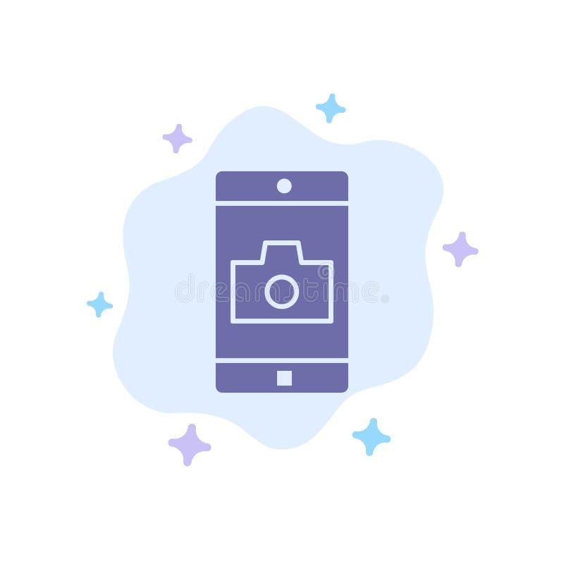 Zastosowanie, wisząca ozdoba, Mobilny zastosowanie, kamery Błękitna ikona na abstrakt chmury tle royalty ilustracja