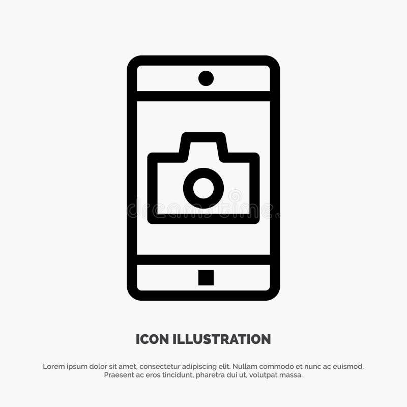 Zastosowanie, wisząca ozdoba, Mobilny zastosowanie, kamery ikony Kreskowy wektor ilustracja wektor