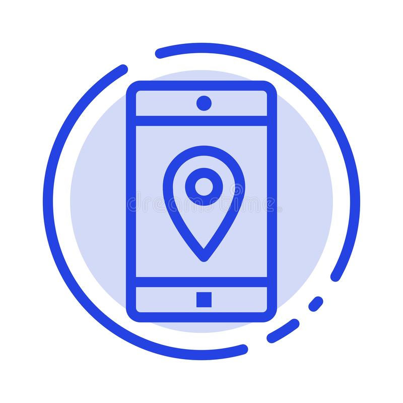 Zastosowanie, wisząca ozdoba, Mobilny zastosowanie, lokacja, Kartografuje błękit Kropkującą linii linii ikonę royalty ilustracja