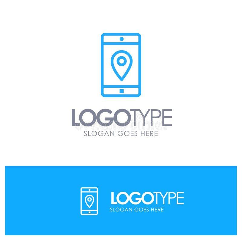 Zastosowanie, wisząca ozdoba, Mobilny zastosowanie, lokacja, Kartografuje Błękitnego konturu logo miejsce dla Tagline royalty ilustracja