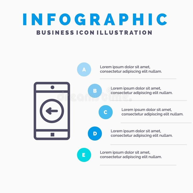 Zastosowanie, wisząca ozdoba, Mobilny zastosowanie, opuszczać Kreskową ikonę z 5 kroków prezentacji infographics tłem ilustracji