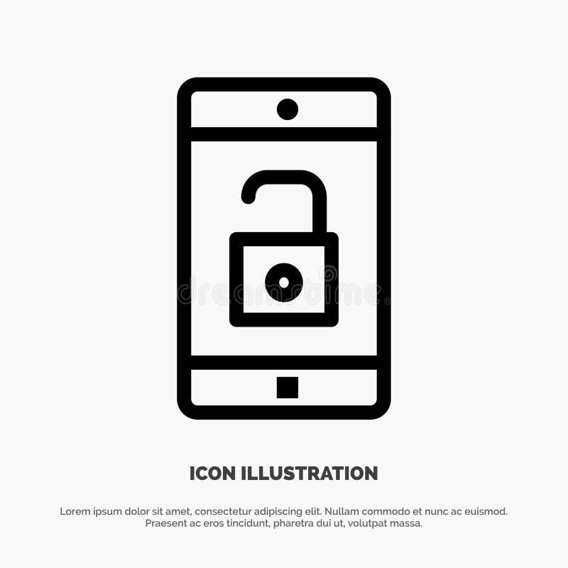 Zastosowanie, wisząca ozdoba, Mobilny zastosowanie, Otwiera Kreskowego ikona wektor royalty ilustracja