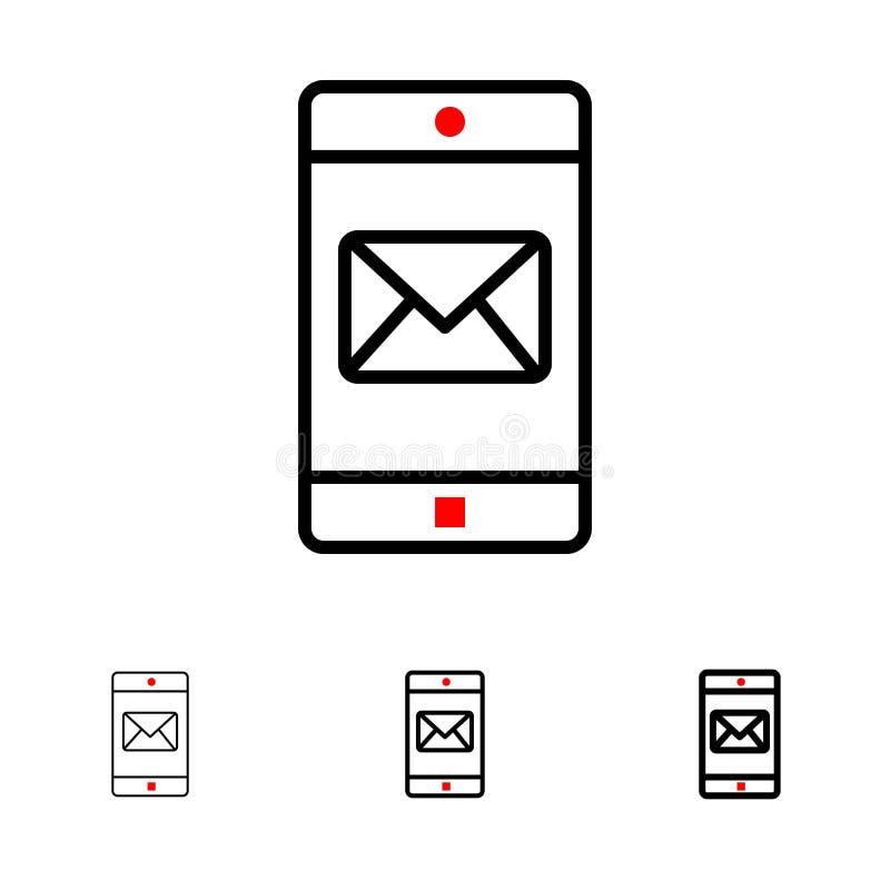 Zastosowanie, wisząca ozdoba, Mobilny zastosowanie, poczta czerni linii ikony set, Śmiały i cienki ilustracji