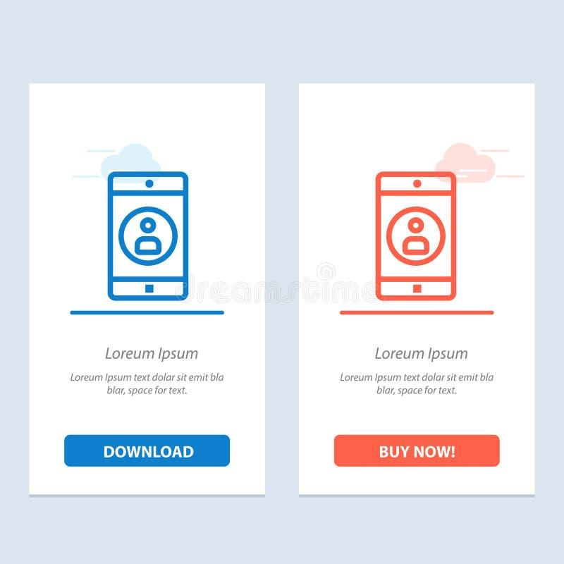 Zastosowanie, wisząca ozdoba, Mobilny zastosowanie, Profilowy sieci Widget karty szablon, Błękitnej, Czerwonej i Teraz ściągania  ilustracja wektor