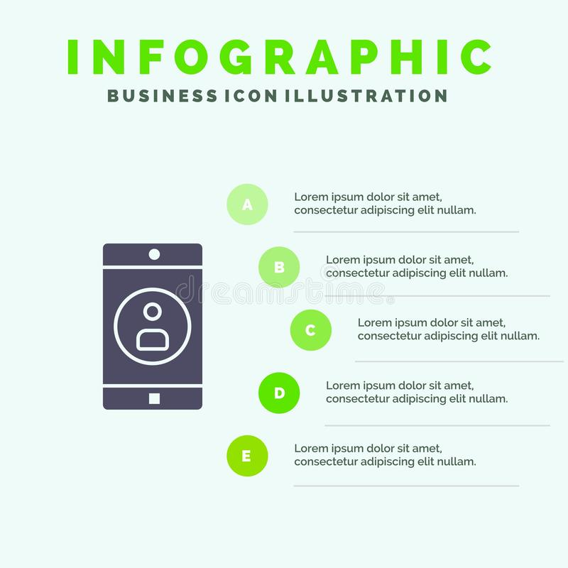 Zastosowanie, wisząca ozdoba, Mobilny zastosowanie, Profilowy Stały ikony Infographics 5 kroków prezentacji tło ilustracja wektor