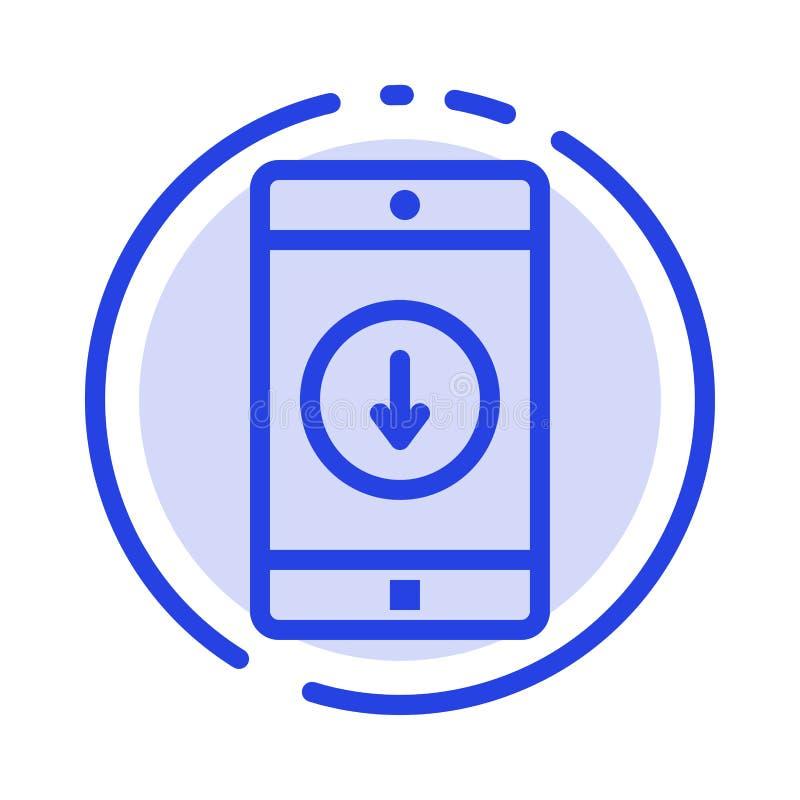 Zastosowanie, wisząca ozdoba, Mobilny zastosowanie, puszek, Strzałkowaty błękit Kropkująca linii linii ikona ilustracja wektor