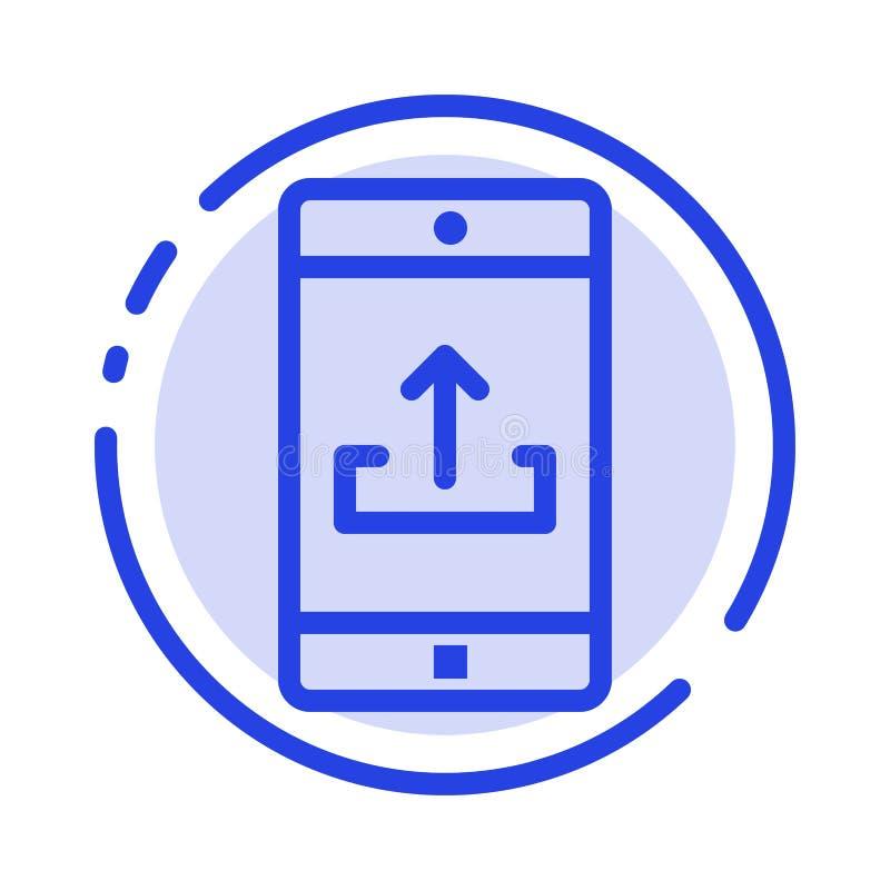 Zastosowanie, wisząca ozdoba, Mobilny zastosowanie, Smartphone, Upload błękit Kropkującą linii linii ikonę royalty ilustracja