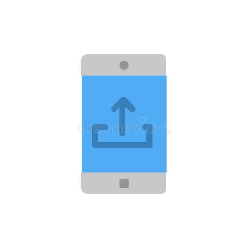Zastosowanie, wisząca ozdoba, Mobilny zastosowanie, Smartphone, Upload koloru Płaska ikona Wektorowy ikona sztandaru szablon ilustracja wektor