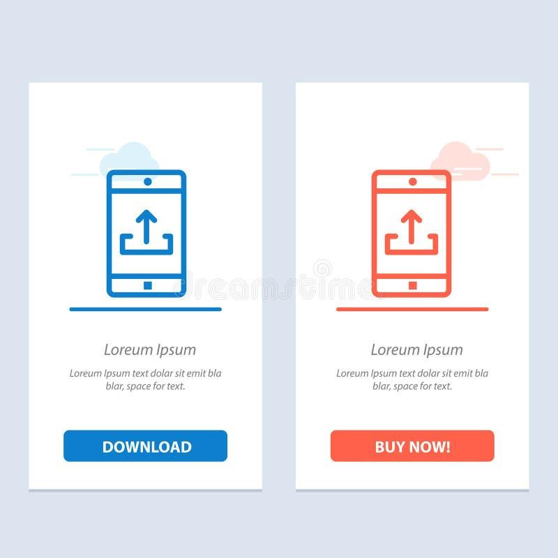 Zastosowanie, wisząca ozdoba, Mobilny zastosowanie, Smartphone, Upload, Kupuje Teraz sieci Widget karty szablon i błękit i Czerwo ilustracja wektor