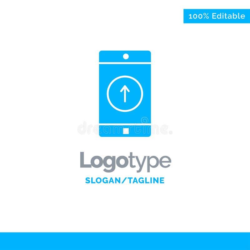 Zastosowanie, wisząca ozdoba, Mobilny zastosowanie, Smartphone, Wysyłający Błękitny Stały logo szablon Miejsce dla Tagline royalty ilustracja