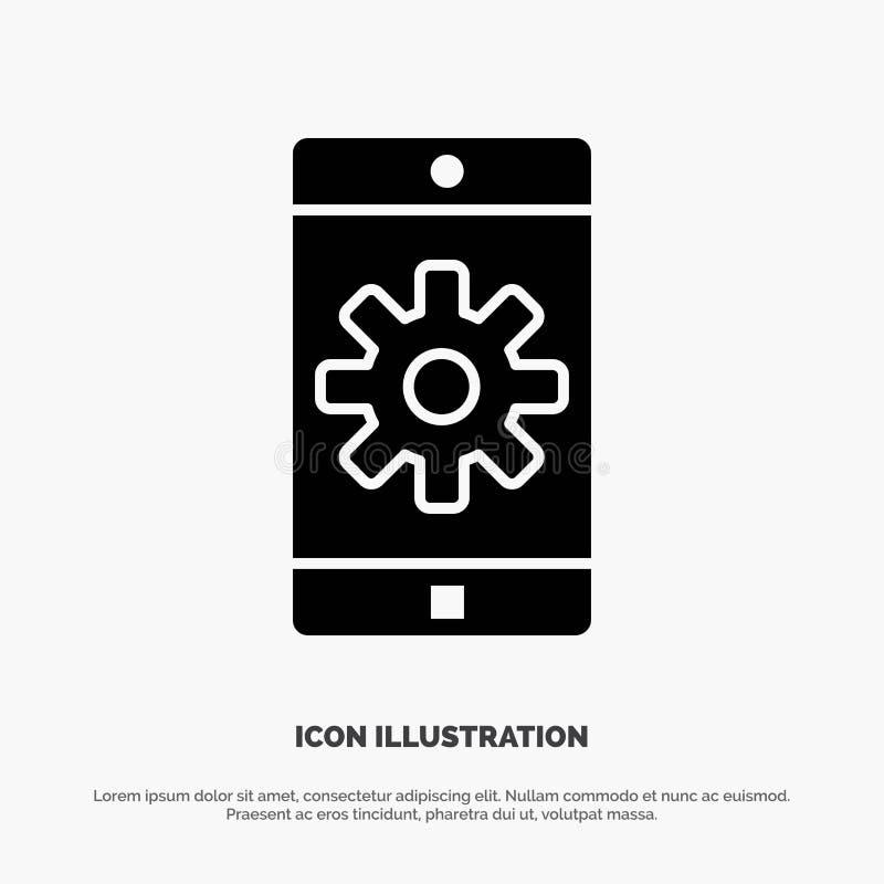 Zastosowanie, wisząca ozdoba, Mobilny zastosowanie, Ustawia stałego glif ikony wektor royalty ilustracja