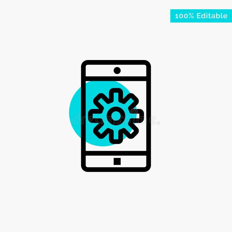 Zastosowanie, wisząca ozdoba, Mobilny zastosowanie, Ustawia turkusową główna atrakcja okręgu punktu wektoru ikonę royalty ilustracja