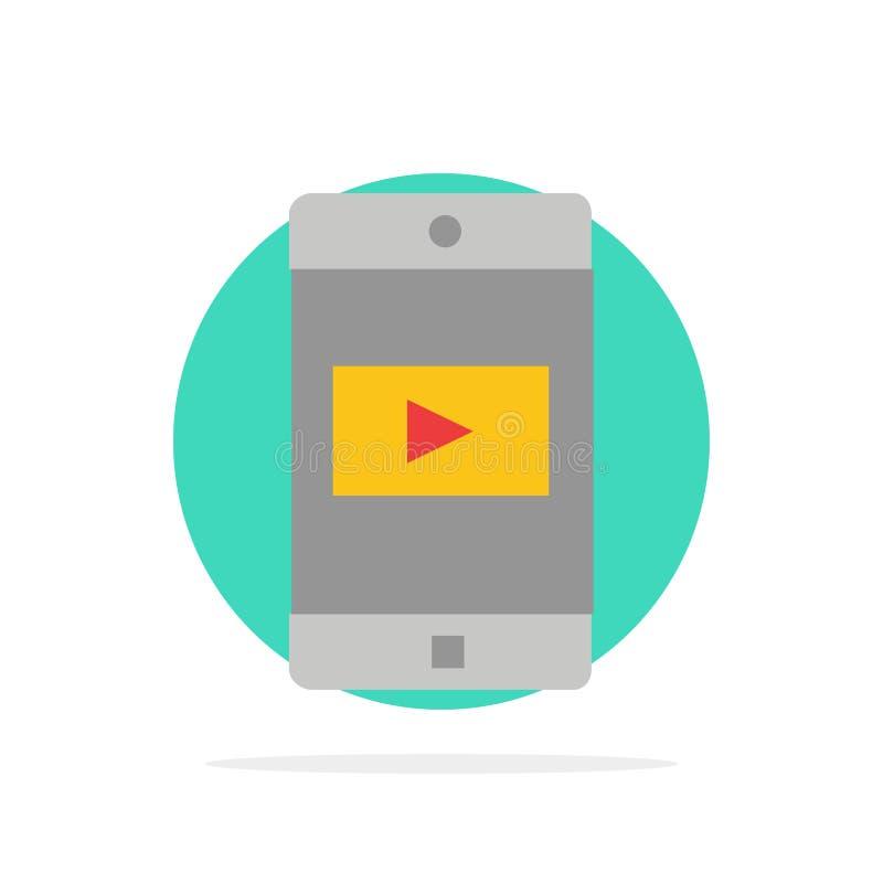 Zastosowanie, wisząca ozdoba, Mobilny zastosowanie, Wideo Abstrakcjonistycznego okręgu tła koloru Płaska ikona ilustracji