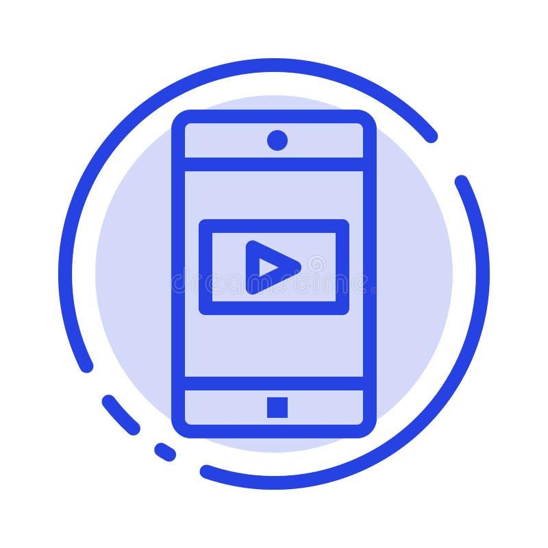 Zastosowanie, wisząca ozdoba, Mobilny zastosowanie, Wideo błękit Kropkująca linii linii ikona ilustracja wektor