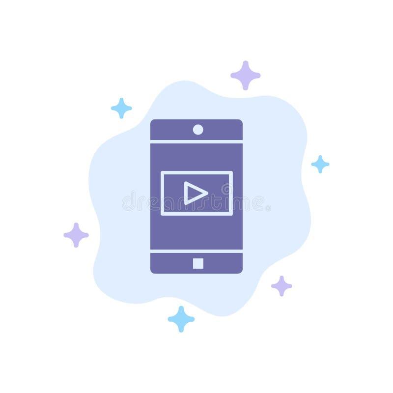 Zastosowanie, wisząca ozdoba, Mobilny zastosowanie, Wideo Błękitna ikona na abstrakt chmury tle ilustracji