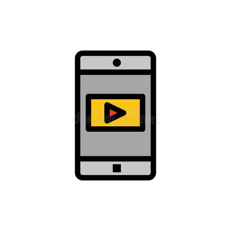 Zastosowanie, wisząca ozdoba, Mobilny zastosowanie, Wideo Płaska kolor ikona Wektorowy ikona sztandaru szablon ilustracja wektor
