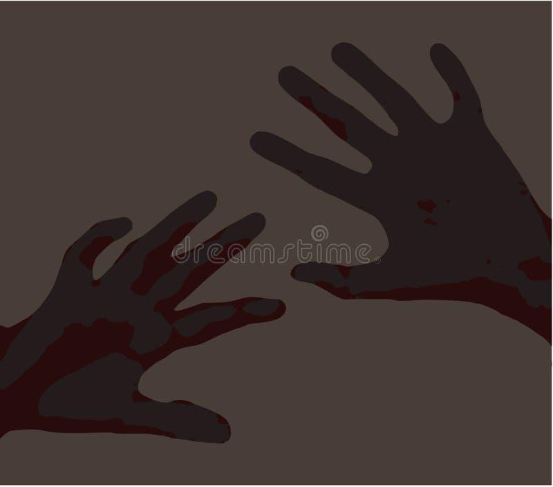 Zastraszone nastroszone ręki dla ochrony ilustraci bólowy czysty wektorowy zmrok siwieją ręki nad lekkim brudno- szarym tło gwałt ilustracja wektor