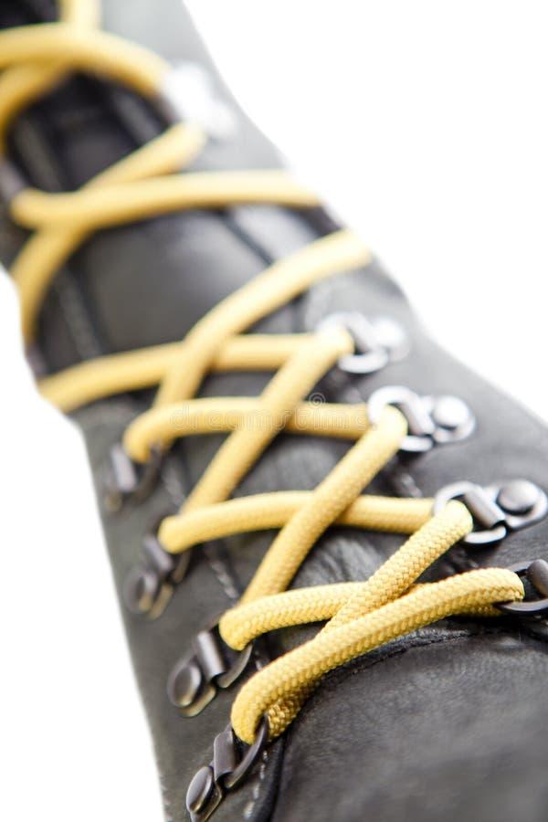 Zasznurowywający up but, mała głębia ciętość fotografia stock