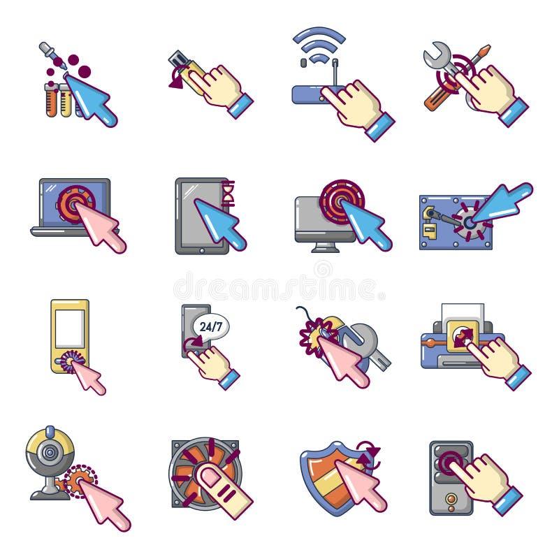 Zaszycie komputeru osobistego ikony ustawiać, kreskówka styl ilustracji