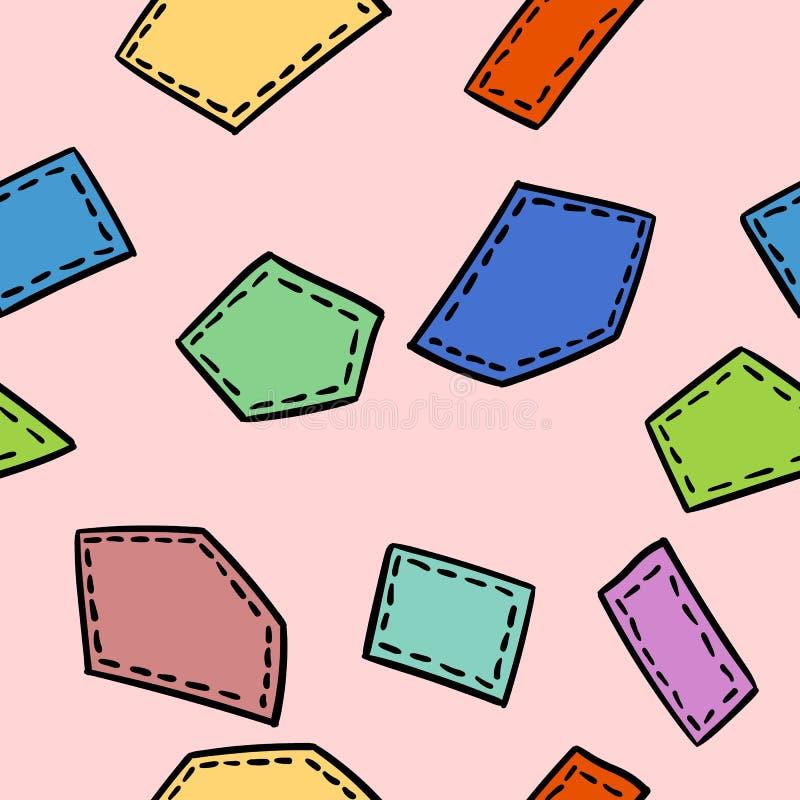 Zaszytych doodles łat bezszwowy wzór Wektorowy druk ilustracja wektor