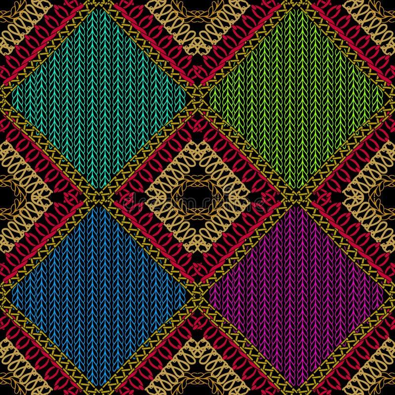 Zaszywanie kolorowy ornamentacyjny wektorowy bezszwowy wzór _ royalty ilustracja