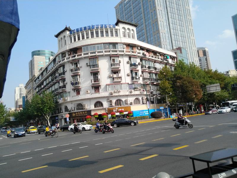 Zatłoczona droga w Szanghaj obraz royalty free