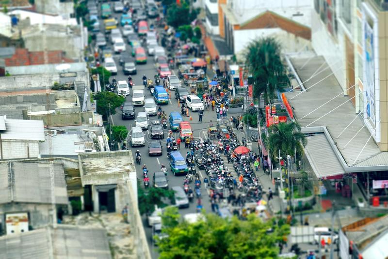Zatłoczony drogowy ruch drogowy widzieć od wierzchołka zdjęcia royalty free