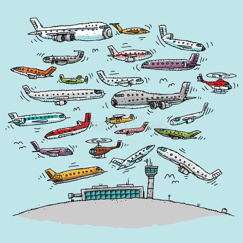 Zatłoczony obszar powietrzny royalty ilustracja