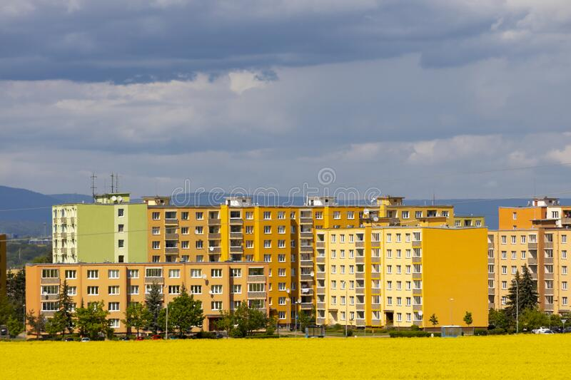 Zatec town and rapeseed field in northern Bohemia, Czech Republic stock photo