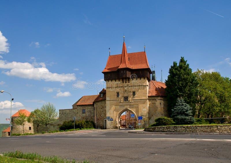 Historic center town Louny. Zatecka gate in historic center town Louny - Czech republic stock photos