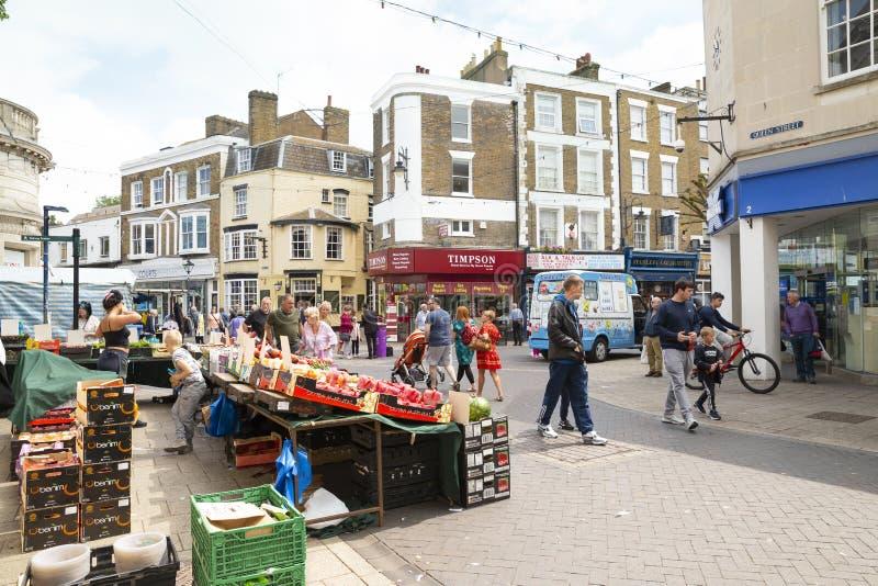 Zaterdagmarkt in Ramsgate, Kent - het Verenigd Koninkrijk royalty-vrije stock foto's