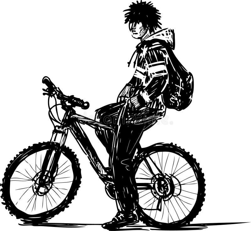 Download Zatkany cyklista ilustracja wektor. Ilustracja złożonej z nastolatek - 28974996