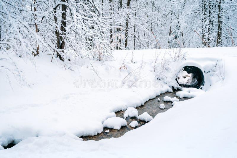 Zatoczka przechodzi przez śnieg zakrywającego krajobrazu obraz royalty free