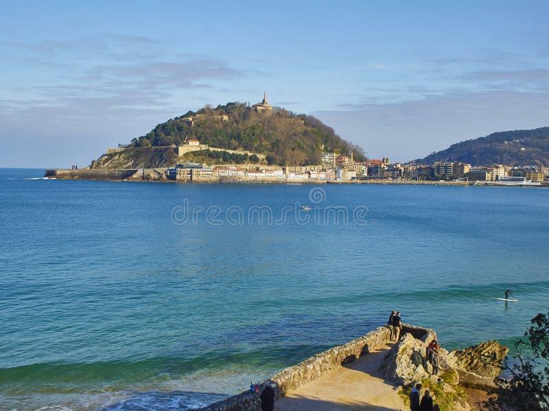 Zatoka Concha San Sebastian, Kraj Basków Hiszpania zdjęcia stock