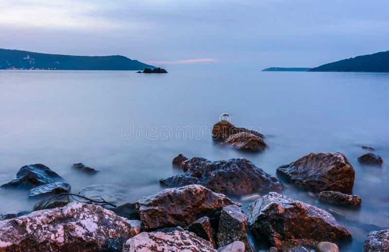 Zatoka Kotor, zmierzch zdjęcie royalty free