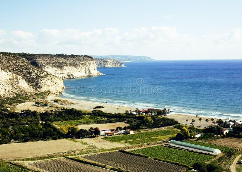 Zatoka między Pafos i Limassol, na południowym koszcie Cypr zdjęcia royalty free