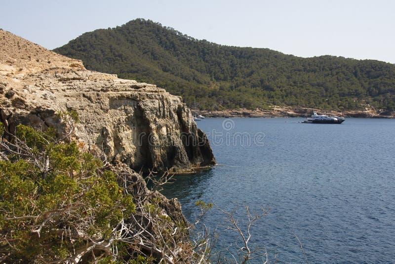 Zatoka na Portinatx na wyspie Ibiza obrazy royalty free
