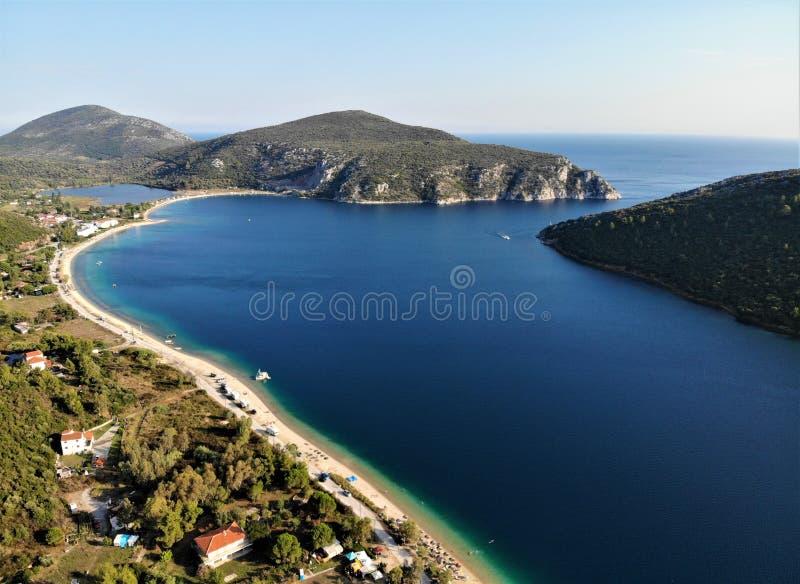 Zatoka w Porto Koufo, morze egejskie, Sithonia, Grecja, Khalkidiki fotografia royalty free