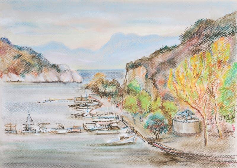 Zatoka z łodziami ilustracja wektor