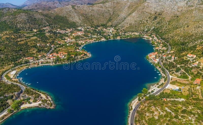 Zaton laguna blisko Dubrovnik zdjęcie royalty free