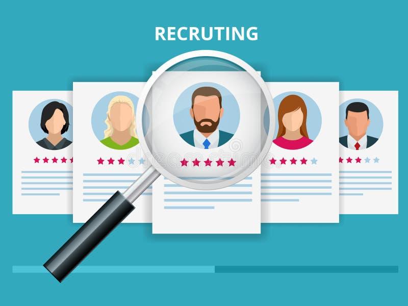 Zatrudniać i rekrutacyjny pojęcie dla strony internetowej, sztandar, prezentacja Akcydensowy wywiad, rekrutacyjna agencyjna wekto ilustracja wektor